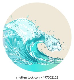 Vector Illustration of handdrawn handpicked waves