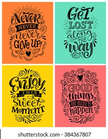 Vector illustration with hand-drawn lettering. Set of inscriptions for invitation and greeting card, prints and posters. Calligraphic design