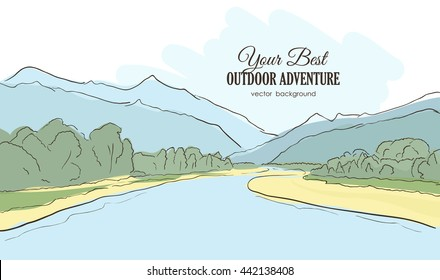 Vector illustration: Hand-drawn Mountains landscape with river, forest. Line style.