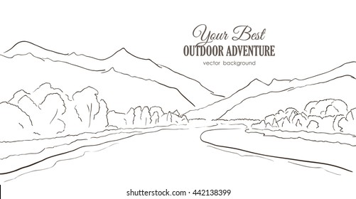 Vector illustration: Hand-drawn Mountains sketch with river, forest on white background. Line style.