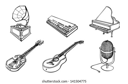 Vector illustration of hand-drawn musical instruments. EPS 8.