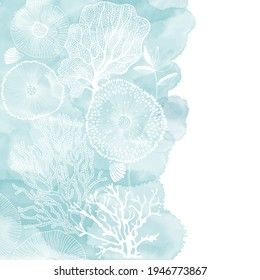 Vector illustration with hand-drawn sea plants and blue watercolor fragment on a white background. Marine background. Illustration with space for text, can be used creating card or invitation card.