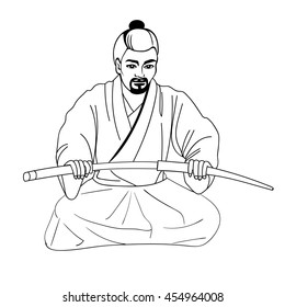 Vector illustration hand-drawn sketch of a Japanese samurai ronin sitting on his lap and holding a sword. Isolated white background. The concept of harakiri. Samurai with katana.