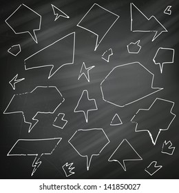 Vector Illustration of Hand-drawn Speech and Thought Bubbles on a Chalkboard Background