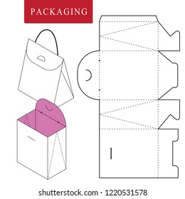 Vector Illustration of handle box.Package Template. Isolated White Retail Mock up.