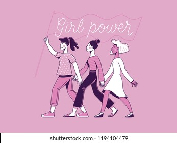 Vector illustration with hand-lettering phrase - girl power and feminist movement - concept for prints, t-shirts, cards - happy women with banner