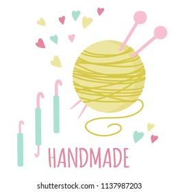 Vector illustration for handmade. Cute arn ball and crochet, knitting stuff. Set for needlework. Logo elements for handmade, craft, atelier. EPS 10