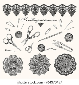 Vector illustration. Handmade equipment, knitting, crochet and lace . Hand drawn design elements.