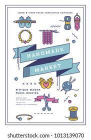 Vector illustration handmade market poster, crafts workshop, art fair and festival poster. Handmade tools