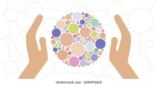 vector illustration of hands and circle for sensory experience handmade products and occupational therapy concepts