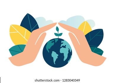 vector illustration, hands close the planet from pollution, save the planet, a small process of a plant, save energy, Earth Day concept - vector