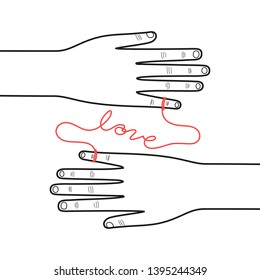Vector illustration, Hands connected by the red string of fate on white background