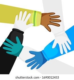 Vector illustration of hands of diverse workers isolated. Concept of cooperation, unity, togetherness, partnership, teamwork in quarantine time. Doctors, police officer and firefighter working for you