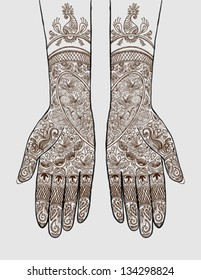 Vector illustration of hands with henna tattoos on them. Concept for Indian bridal salon, services, event planning, partnership, b2b local marketing, diversity, love, wedding, celebration, invitation.