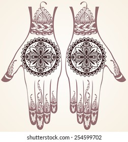 Vector illustration of hands with henna tattoos