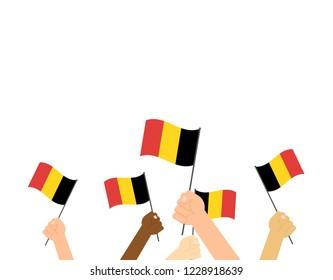 Vector illustration hands holding Belgium flags on white background