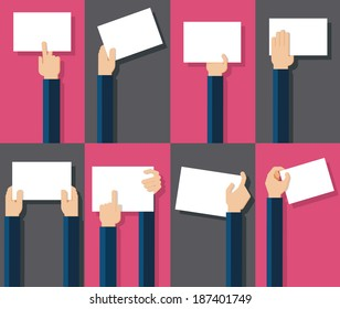 Vector illustration of hands holding blank piece of paper for messages