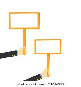 Vector illustration of hands holding boards