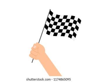 Vector illustration hands holding checkered flag on white background