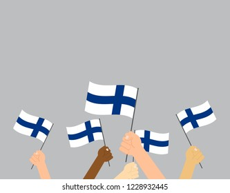 Vector illustration hands holding Finland flags on gray background