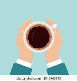 Vector illustration of hands holding hot coffee cup, business person want to drink coffee, coffee break concept, morning time, flat cartoon style on blue background.