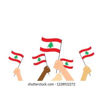 Vector illustration hands holding Lebanon flags on white background
