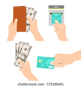 Vector Illustration of Hands holding money, credit card and purse
