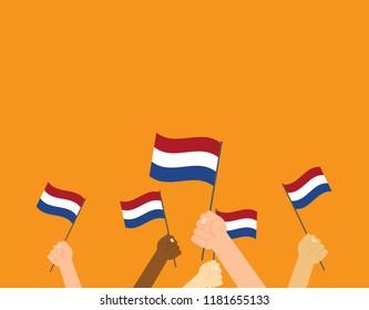 Vector illustration hands holding Netherlands flags on orange background