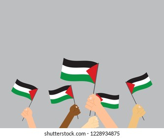 Vector illustration hands holding Palestine flags on gray background
