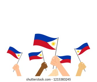 Vector illustration hands holding Philippines flags on white background
