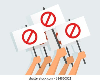 Vector illustration of hands holding protest banners