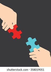 vector illustration of hands holding puzzles. Business concept.