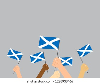 Vector illustration hands holding Scotland flags on gray background