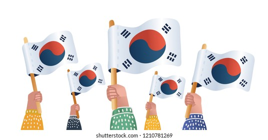 Vector illustration hands holding South Korea flags - South Korea Independence day greeting card. Object on white background.