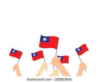 Vector illustration hands holding Taiwan flags on white background