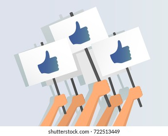 Vector illustration of hands holding thumbs-up banners
