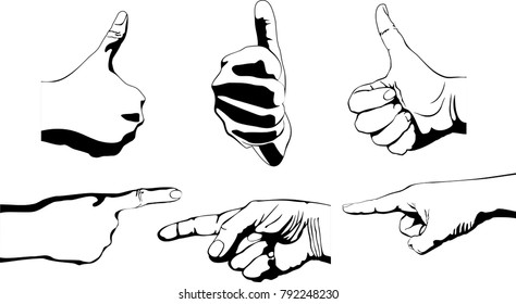 Vector illustration of hands on white background. the gesture of thumb and index finger