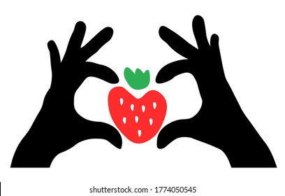 Vector illustration hands in shape of heart with a strawberry. Artistic hand-drawing icon isolated on white background. Healthy banner template for farming market, harvest. Natural, organic, eco