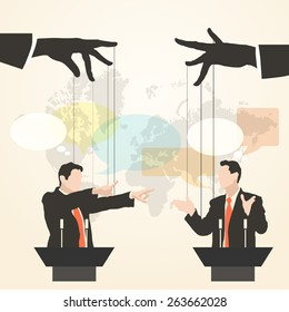 Vector illustration of hands that control the speaker, behind a podium on the world map background, like puppet in a flat style. Debate two speakers. Political speeches, debates, rhetoric, set
