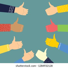 Vector illustration of hands with thumbs up in flat style. Concept of public approval, acknowledgment by audience, positive opinion, recognition.