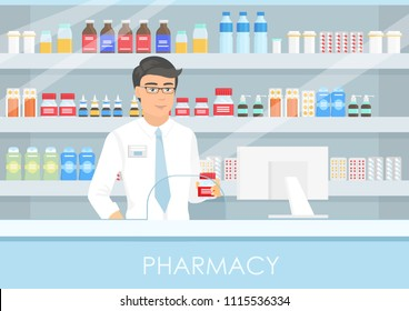 Vector illustration of a handsome male pharmacist at a pharmacy counter. a pharmacist, a shelf of medicine, capsules and bottle of drugs. Paid medical concept of health care.