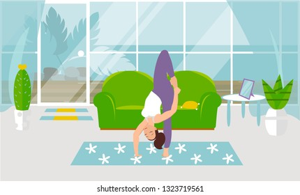 Vector illustration. Handstand standing. Pose standing on one arm and one leg. Beautiful young woman doing yoga strength exercises. Design of a modern room with furniture and accessories