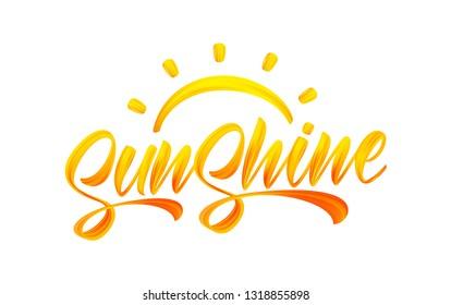 Vector illustration: Handwritten brush stroke yellow acrylic paint lettering of Sunshine with Sun. Summer modern calligraphy