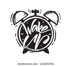 Vector illustration: Handwritten brush type lettring of Wake Up with hand drawn Alarm Clock on white background