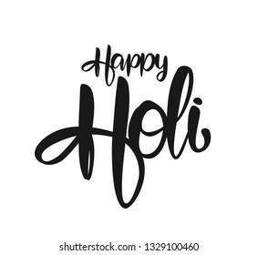 Vector illustration: Handwritten brush type lettering of Happy Holi on white background