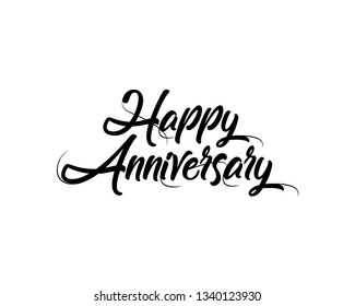 Vector illustration: Handwritten calligraphic lettering of Happy Anniversary on white background