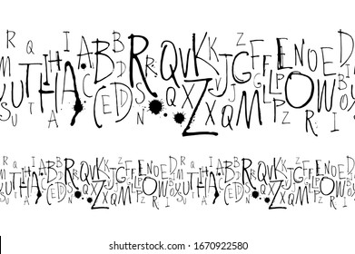 Vector illustration Handwritten calligraphy and lettering seamless pattern. Black and white