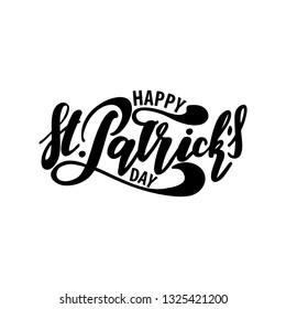 Vector illustration: Handwritten elegant modern brush lettering composition of Happy St Patrick's Day