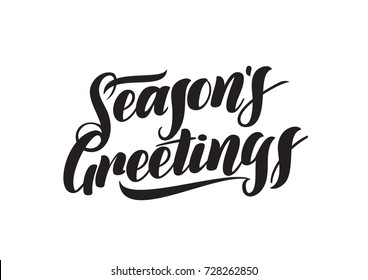 Vector illustration. Handwritten elegant modern brush lettering of Seasons Greetings isolated on white background.