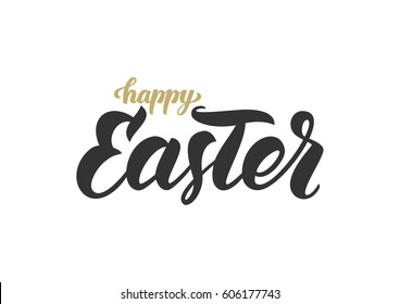 Vector illustration. Handwritten golden and black elegant modern brush lettering composition of Happy Easter on white background.